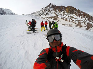 Ski touring on mt Kazbek